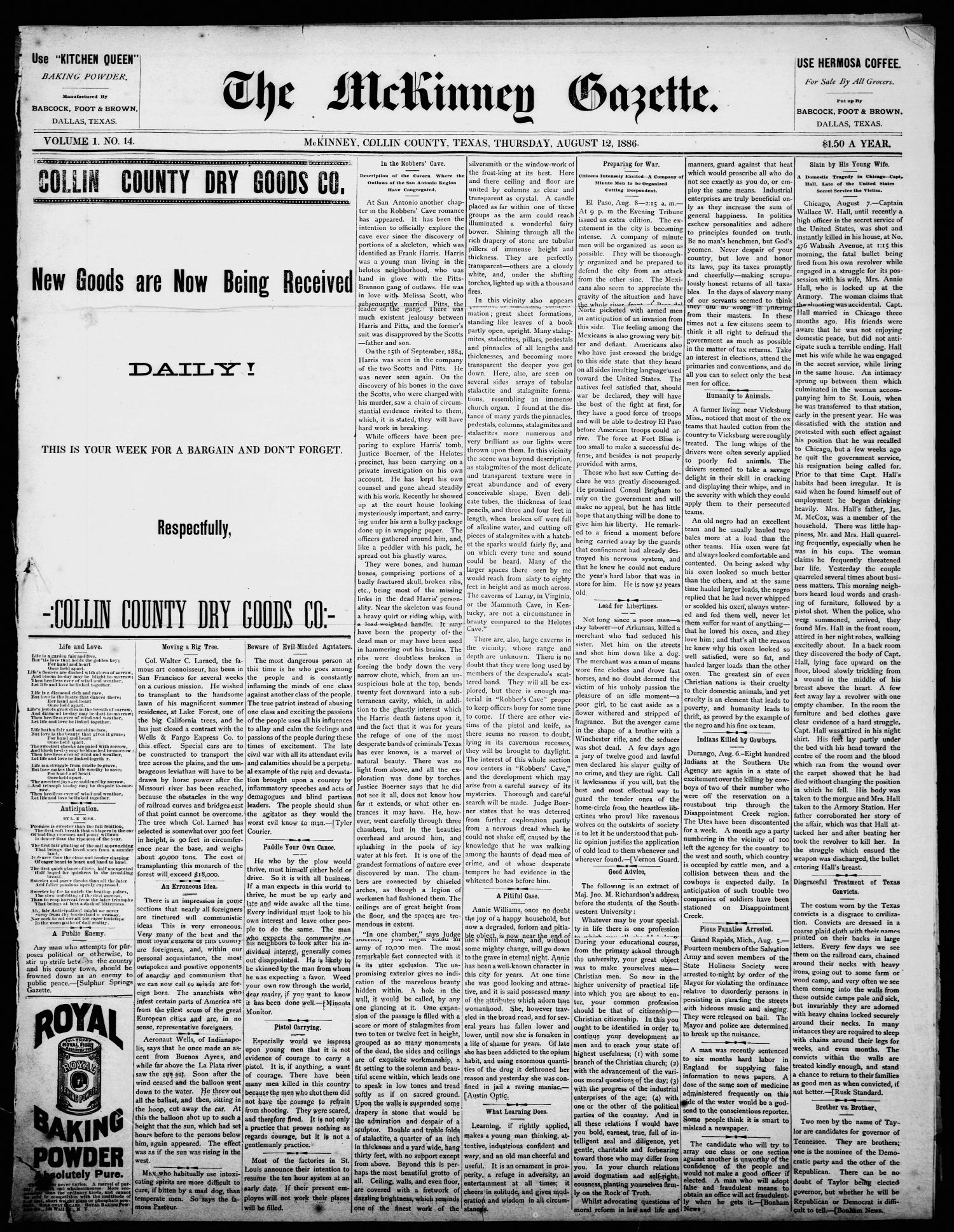 The McKinney Gazette. (McKinney, Tex.), Vol. 1, No. 14, Ed. 1 Thursday, August 12, 1886                                                                                                      [Sequence #]: 1 of 4