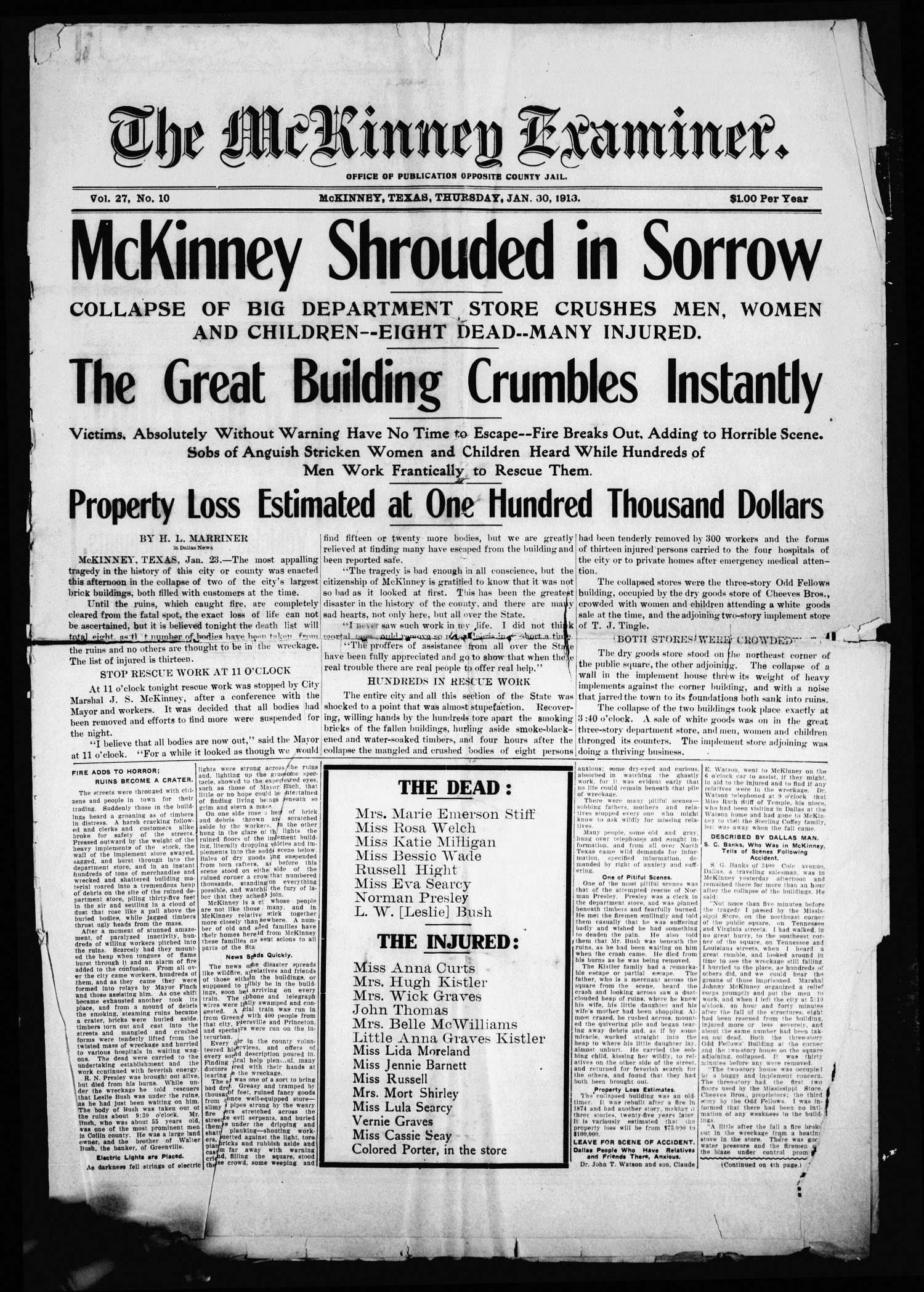 The McKinney Examiner. (McKinney, Tex.), Vol. 27, No. 10, Ed. 1 Thursday, January 30, 1913                                                                                                      [Sequence #]: 1 of 8