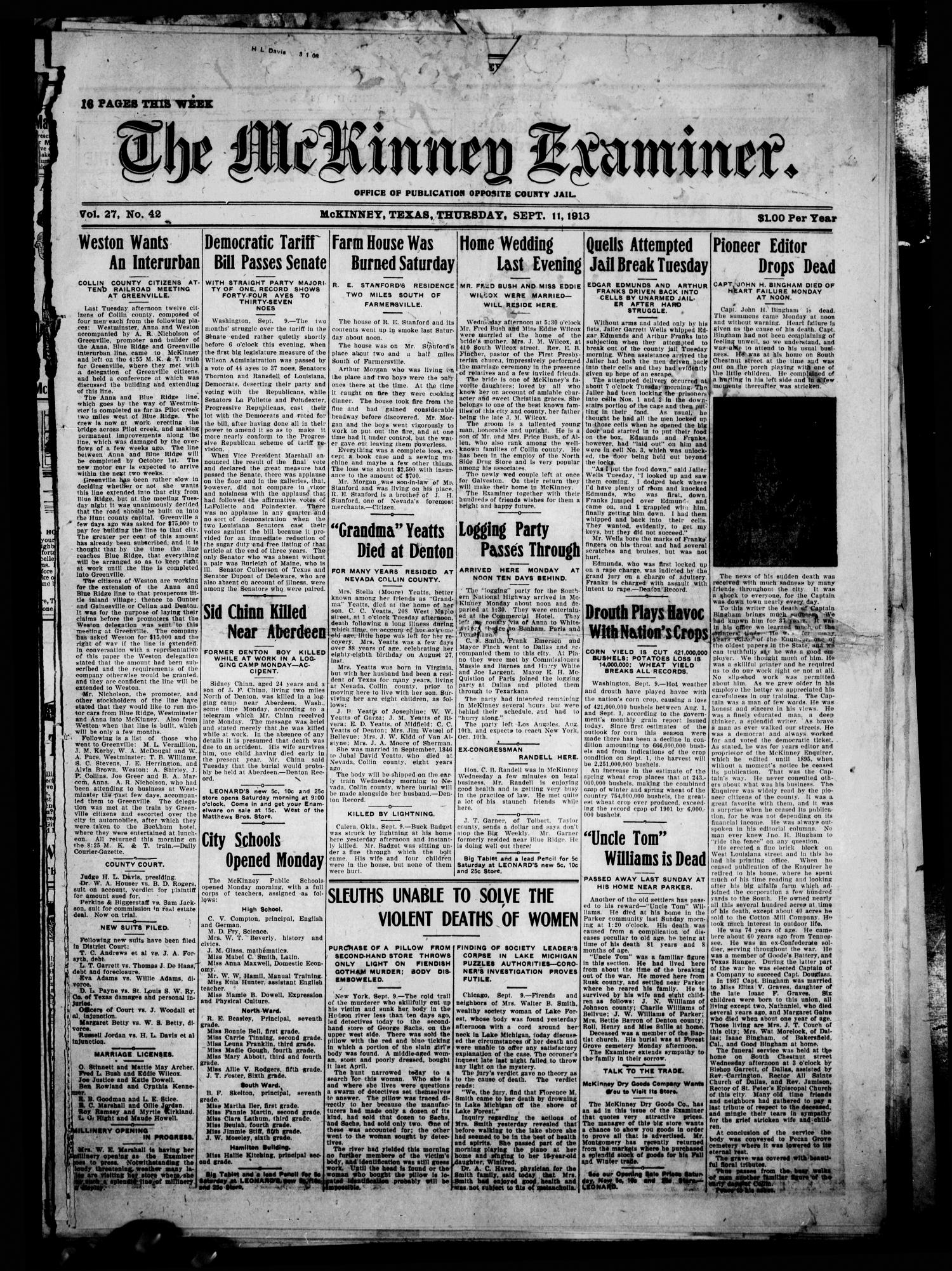 The McKinney Examiner. (McKinney, Tex.), Vol. 27, No. 42, Ed. 1 Thursday, September 11, 1913                                                                                                      [Sequence #]: 1 of 16