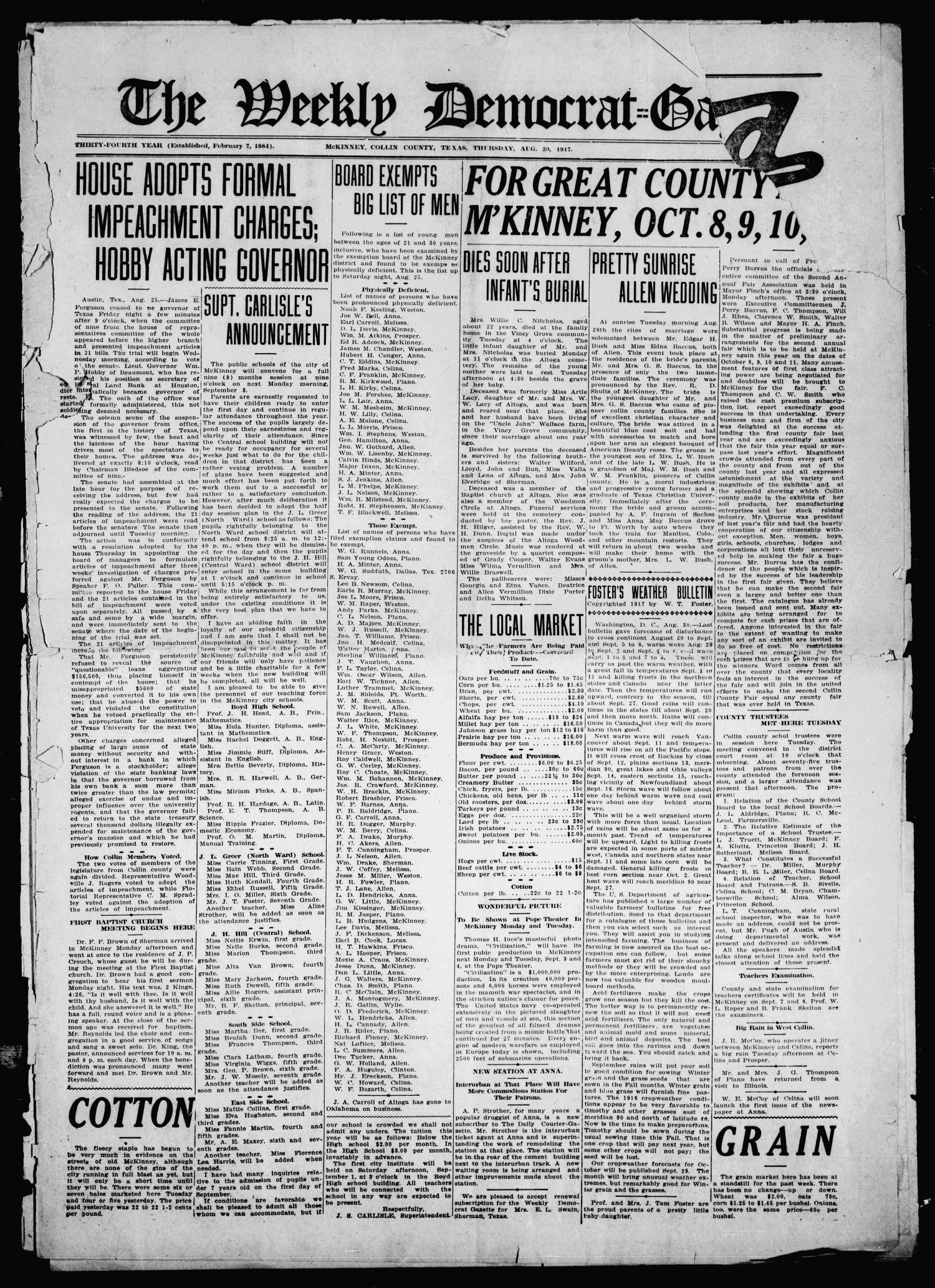 The Weekly Democrat-Gazette (McKinney, Tex.), Vol. 34, Ed. 1 Thursday, August 30, 1917                                                                                                      [Sequence #]: 1 of 12