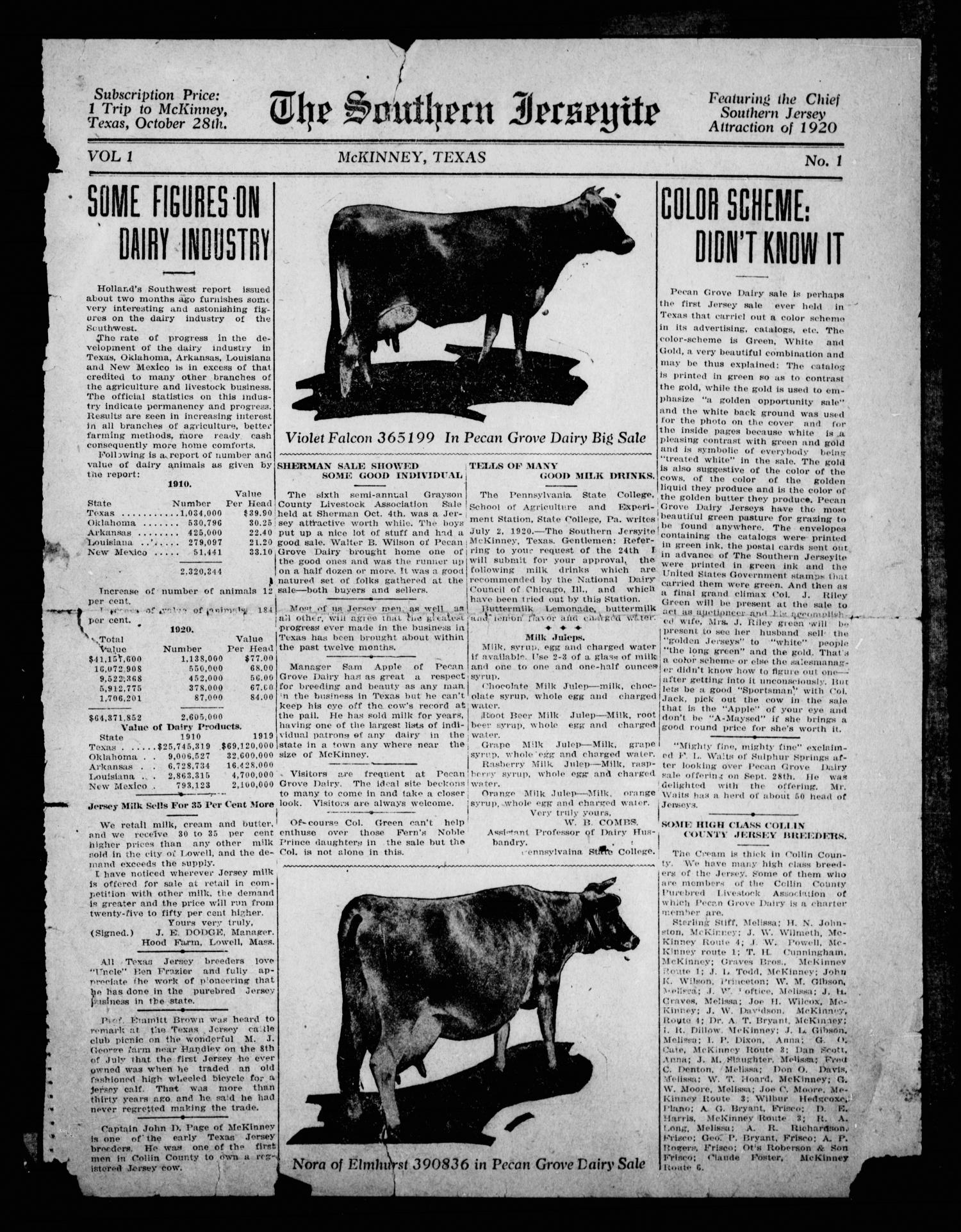 The Southern Jerseyite (McKinney, Tex.), Vol. 1, No. 1, Ed. 1 Thursday, October 28, 1920                                                                                                      [Sequence #]: 1 of 2