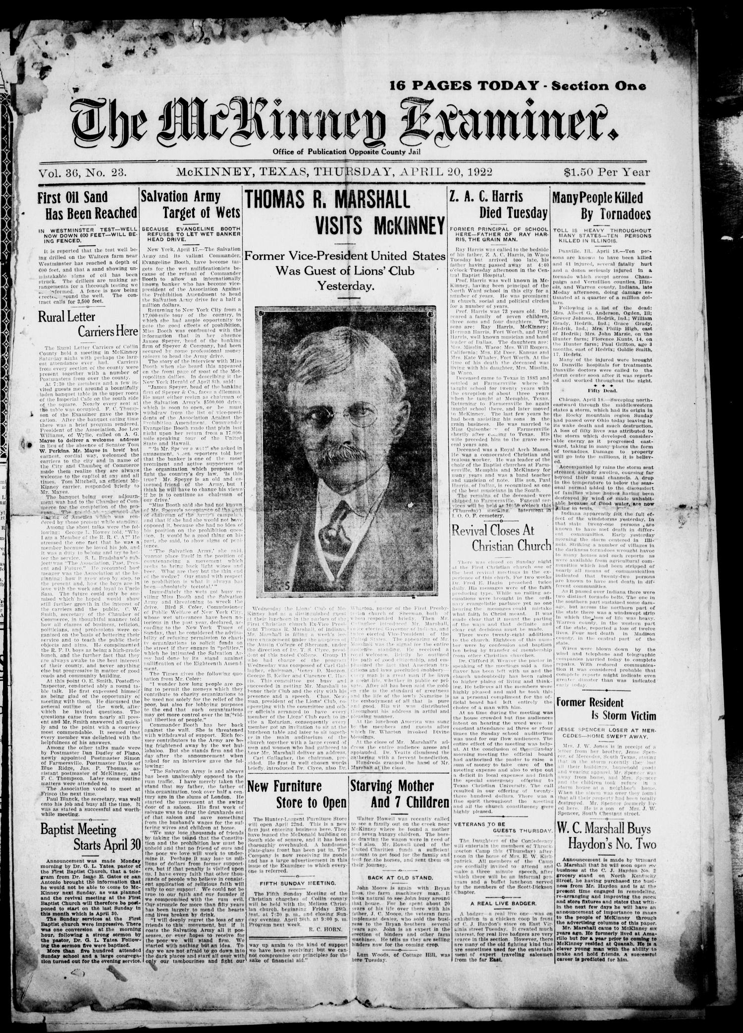 The McKinney Examiner. (McKinney, Tex.), Vol. 36, No. 23, Ed. 1 Thursday, April 20, 1922                                                                                                      [Sequence #]: 1 of 8