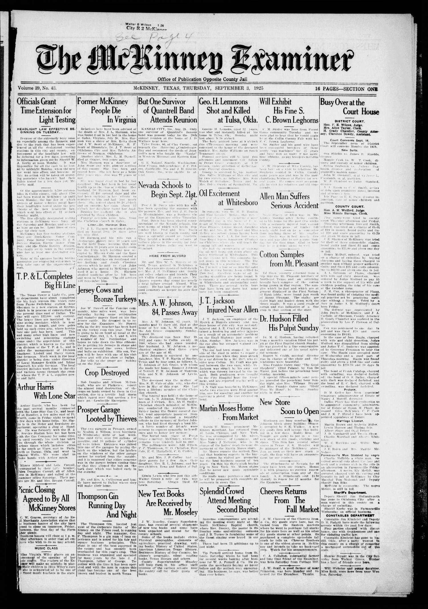 The McKinney Examiner. (McKinney, Tex.), Vol. 39, No. 43, Ed. 1 Thursday, September 3, 1925                                                                                                      [Sequence #]: 1 of 16
