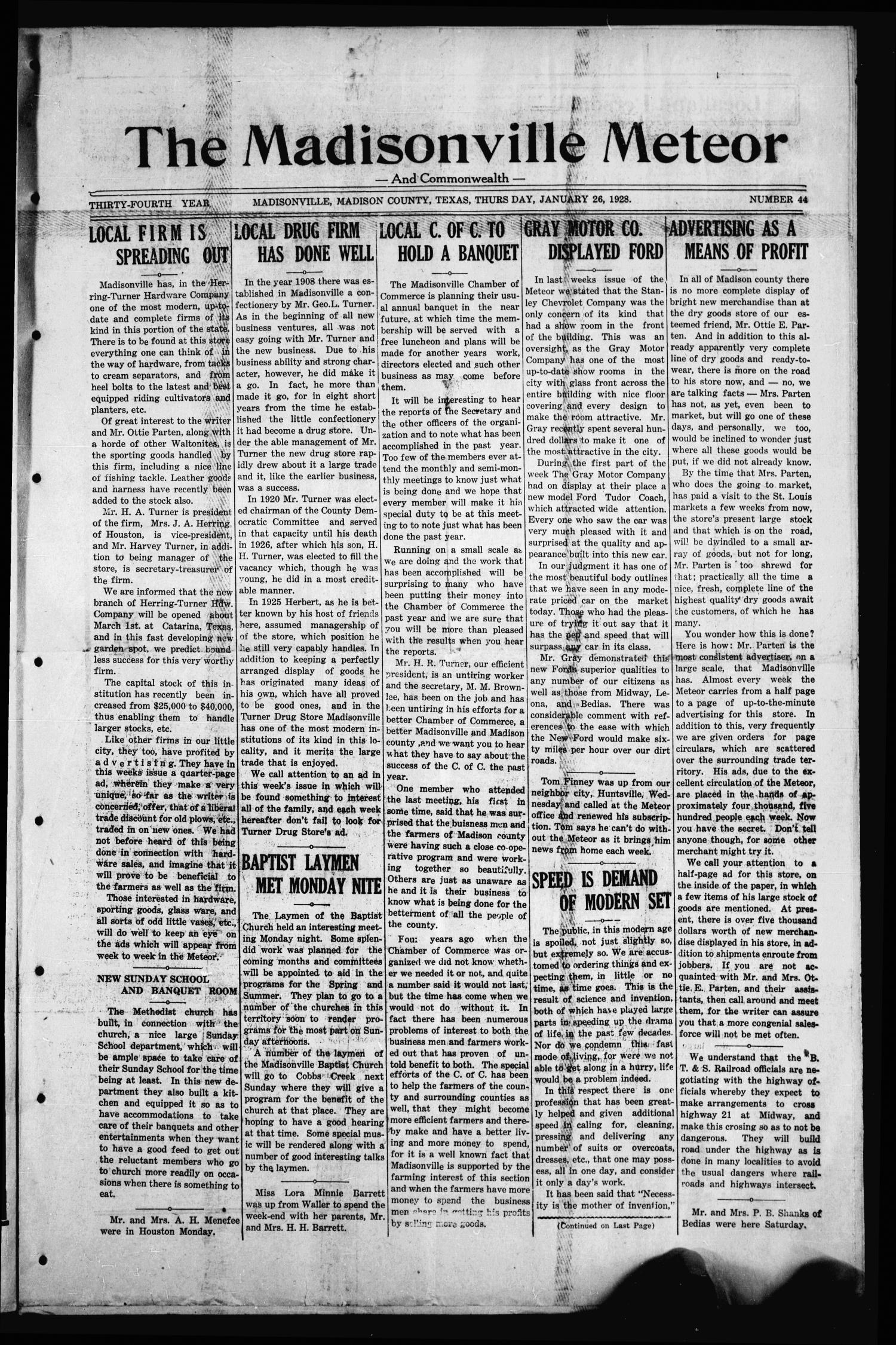The Madisonville Meteor - And Commonwealth - (Madisonville, Tex.), Vol. 34, No. 44, Ed. 1 Thursday, January 26, 1928                                                                                                      [Sequence #]: 1 of 8
