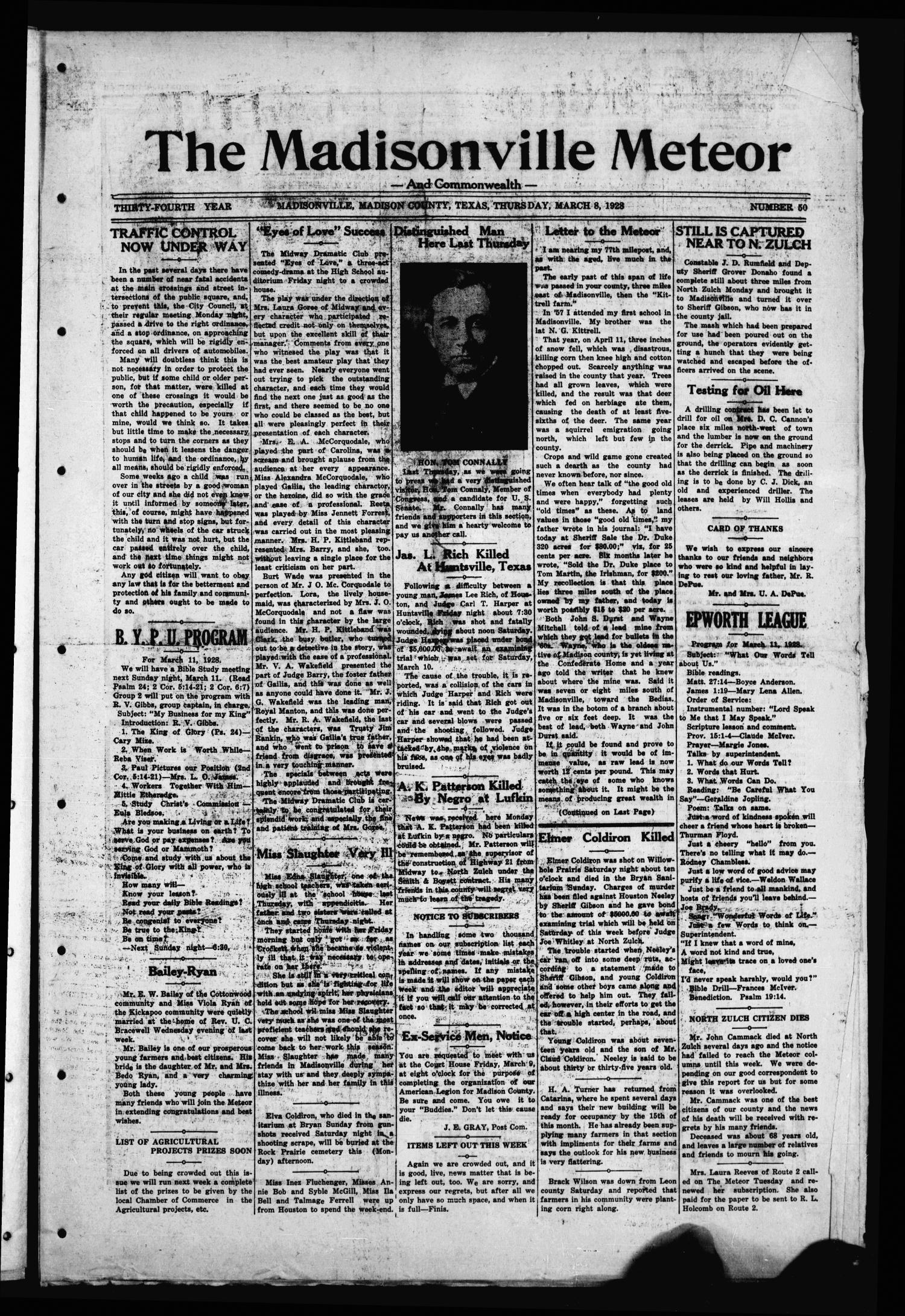 The Madisonville Meteor - And Commonwealth - (Madisonville, Tex.), Vol. 34, No. 50, Ed. 1 Thursday, March 8, 1928                                                                                                      [Sequence #]: 1 of 8