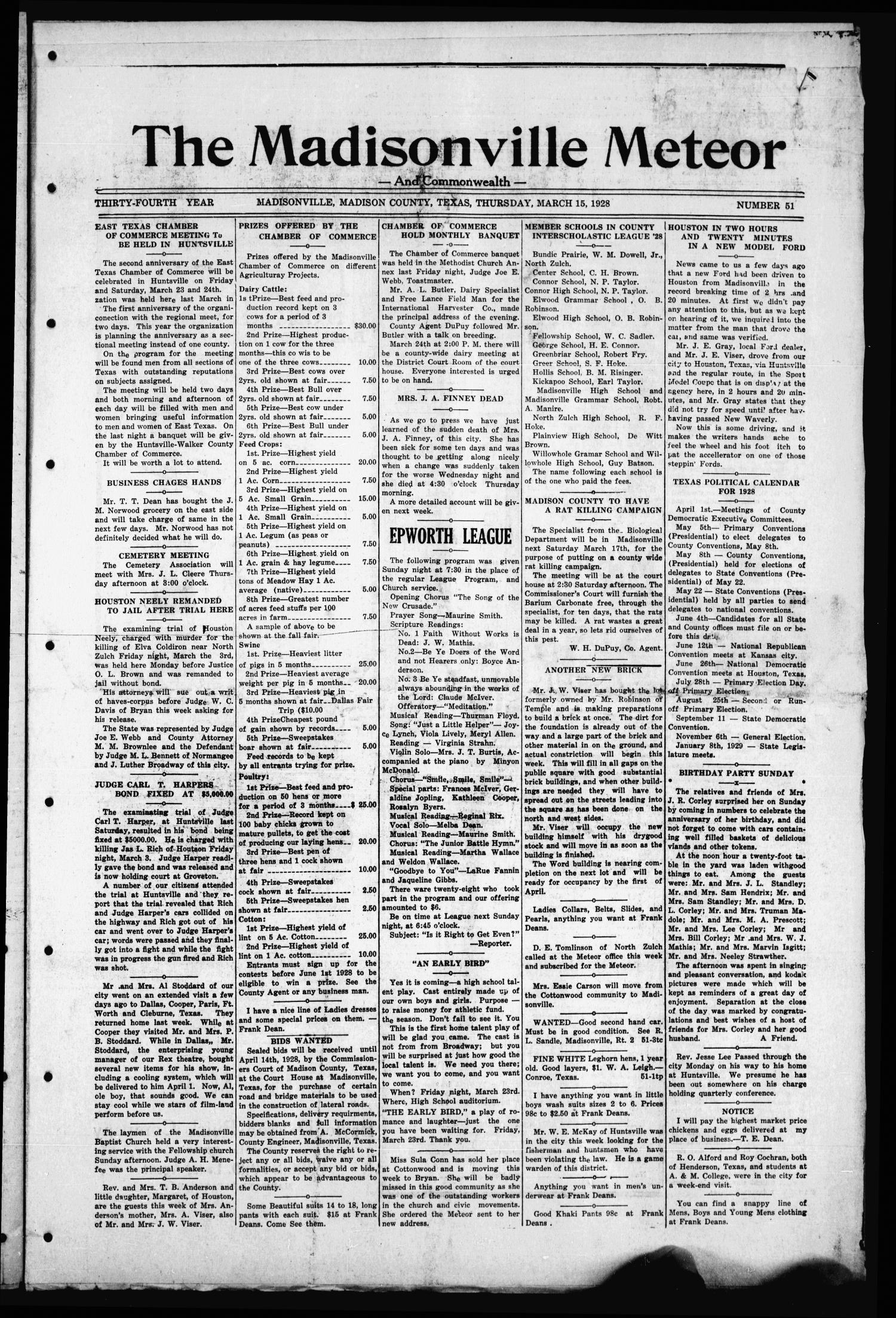 The Madisonville Meteor - And Commonwealth - (Madisonville, Tex.), Vol. 34, No. 51, Ed. 1 Thursday, March 15, 1928                                                                                                      [Sequence #]: 1 of 10