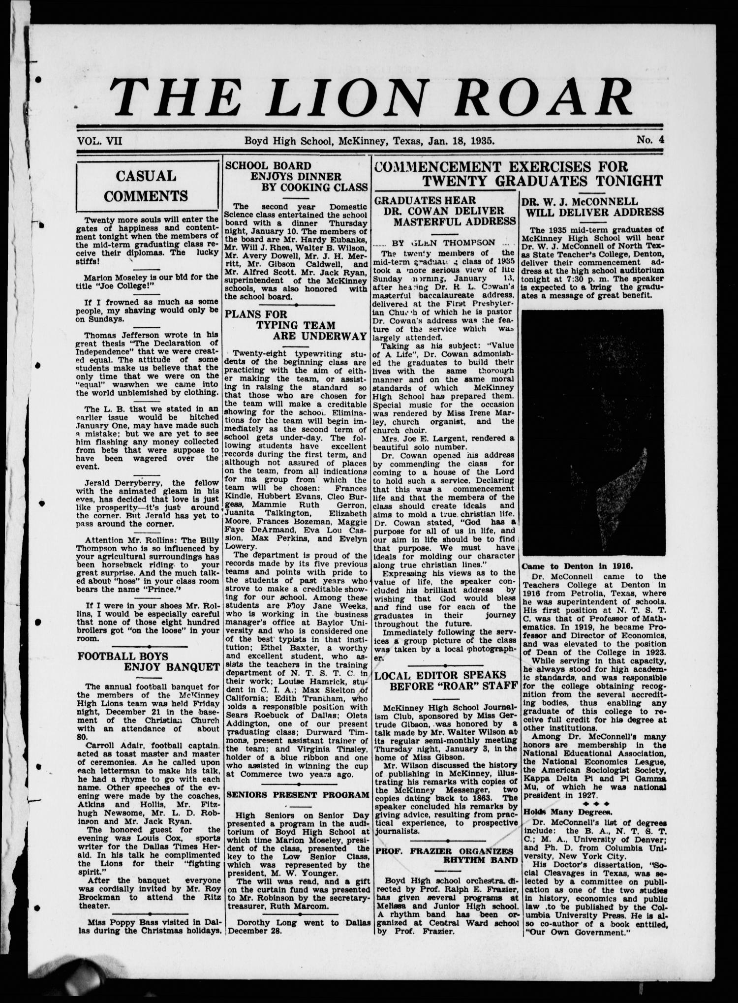 The Lion Roar (McKinney, Tex.), Vol. 7, No. 4, Ed. 1 Friday, January 18, 1935                                                                                                      [Sequence #]: 1 of 4