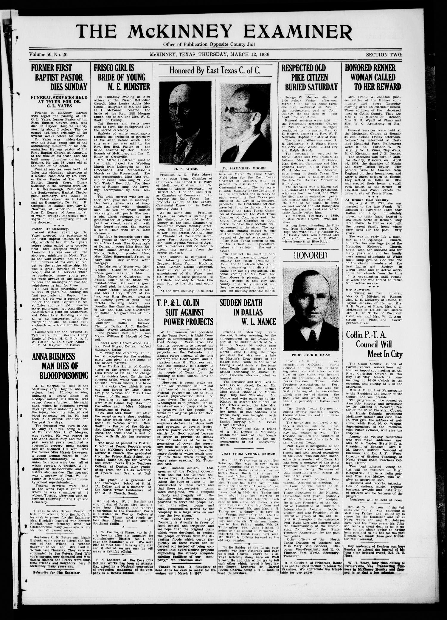 The McKinney Examiner. (McKinney, Tex.), Vol. 50, No. 20, Ed. 1 Thursday, March 12, 1936                                                                                                      [Sequence #]: 1 of 10