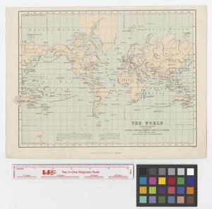 Primary view of object titled 'The world (on Mercators projection) showing both the eastern & western maritime route to Australia and the difference of time at successive hour-circles east and west of Greenwich'.