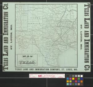 Primary view of object titled 'Map of the state of Texas.'.