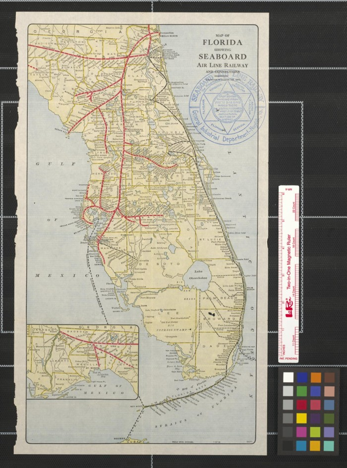 Florida Railroad Map.Map Of Florida Showing Seaboard Air Line Railway And Connections