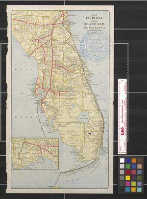 Primary view of object titled 'Map of Florida showing Seaboard Air Line Railway and connections.'.