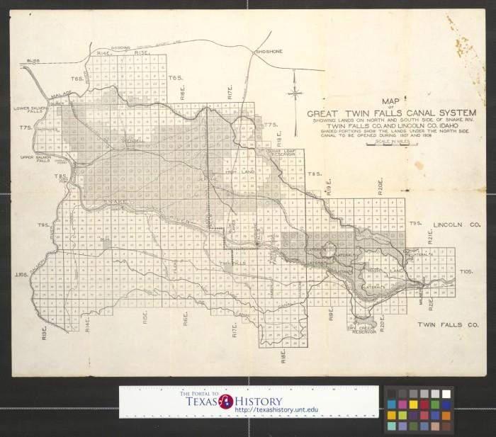 Map Of Great Twin Falls Canal System Showing Lands On North And