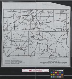 Primary view of object titled 'Santa Fe Map showing portion of southern Kansas and northern Oklahoma'.