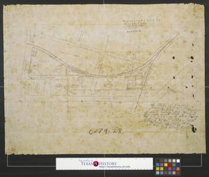 Primary view of object titled 'Plat of lands sold to G. C. & S.Fe R. R. Co.'.
