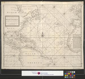 Primary view of object titled 'A new generall [sic.] chart for the West Indies, of E. Wrights projection vut. Mercators chart.'.