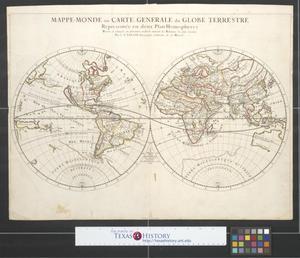Primary view of Mappe-monde ou carte generale du globe terrestre representée en deux plan-hemispheres.