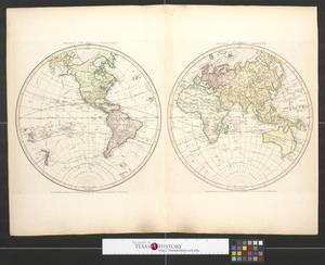 Primary view of Western Hemisphere or New World [and] Eastern Hemisphere or Old World.