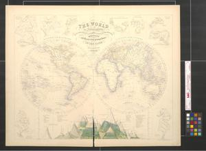 Primary view of object titled 'The World in hemispheres with comparative views of the heights of the principal mountains and basins of the principal rivers on the globe.'.
