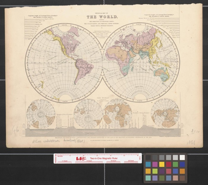 primary view of object titled physical map of the world showing the directions of mountain