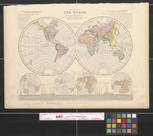 Primary view of object titled 'Physical map of the world showing the directions of mountain-chains, the ocean-basins and principal river-systems, trade-wind & monsoon-regions, &c.'.