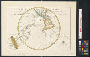 Primary view of object titled 'Mappe-monde sur un plan horizontal situé à 45 d. de latitude sud hemisphère occidental.'.