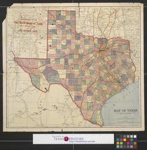 Primary view of object titled 'Map of Texas with population and location of principal towns and cities according to latest reliable statistics.'.