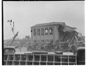 Primary view of object titled 'Exterior View of New London School After an Explosion'.
