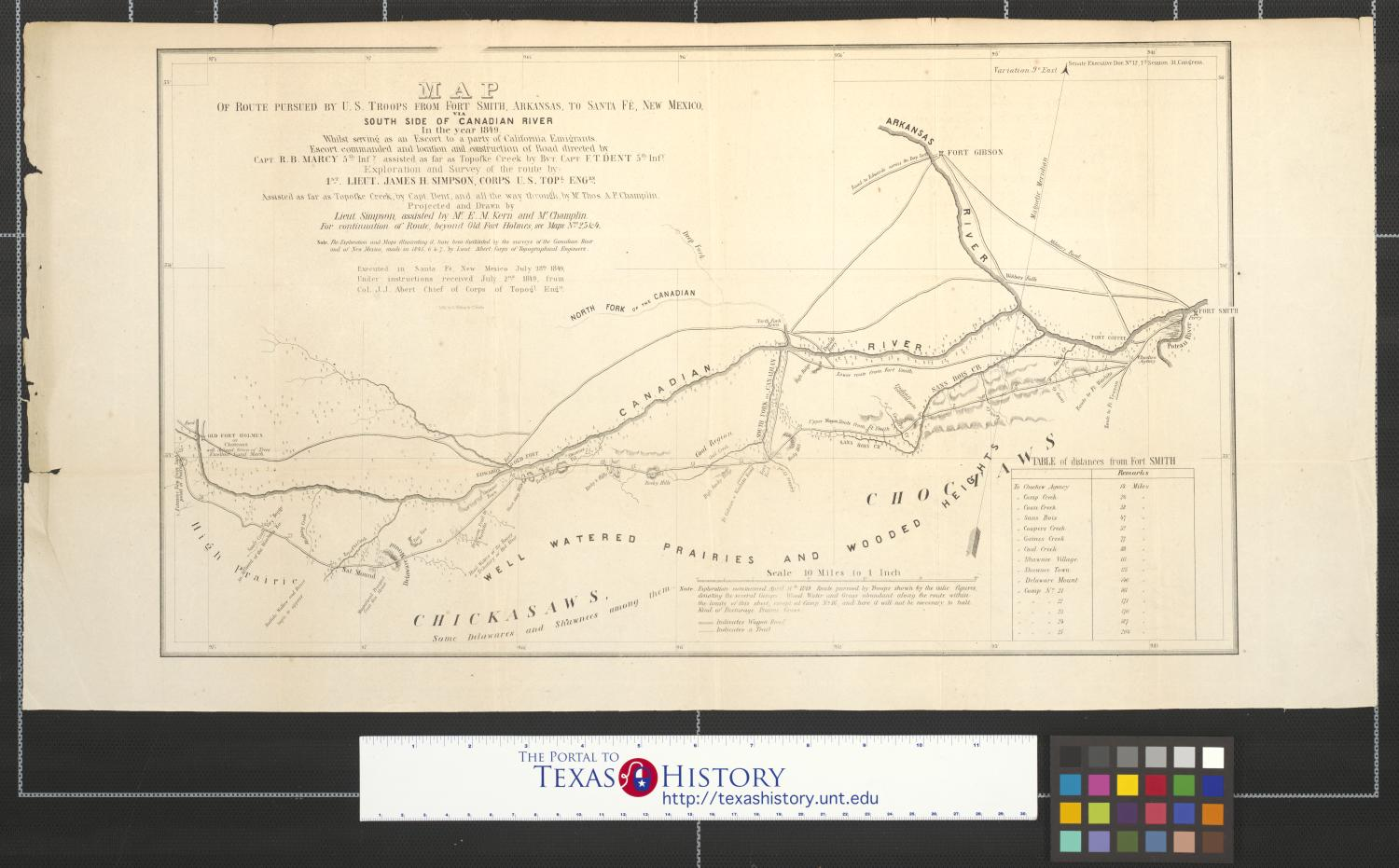 Map Of Route Pursued By U S Troops From Fort Smith