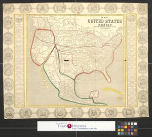 Primary view of object titled 'Map of the United States and Mexico, including Oregon, Texas and the Californias.'.