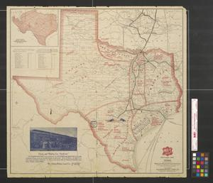 Primary view of object titled 'The MK and T Missouri, Kansas, & Texas Ry. sectional map of Texas traversed by the Missouri, Kansas & Texas Railway, showing the crops adapted to each section, with the elevation and annual rainfall.'.