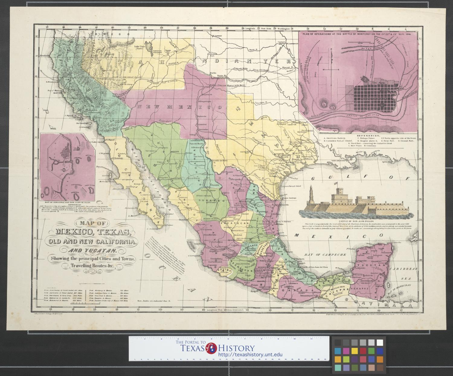 Map Of Mexico Texas Old And New California And Yucatan Showing - Map of california cities and towns