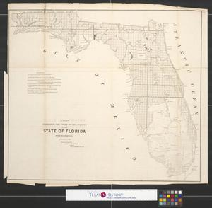 Primary view of object titled 'A plat exhibiting the state of the surveys in the State of Florida with references.'.