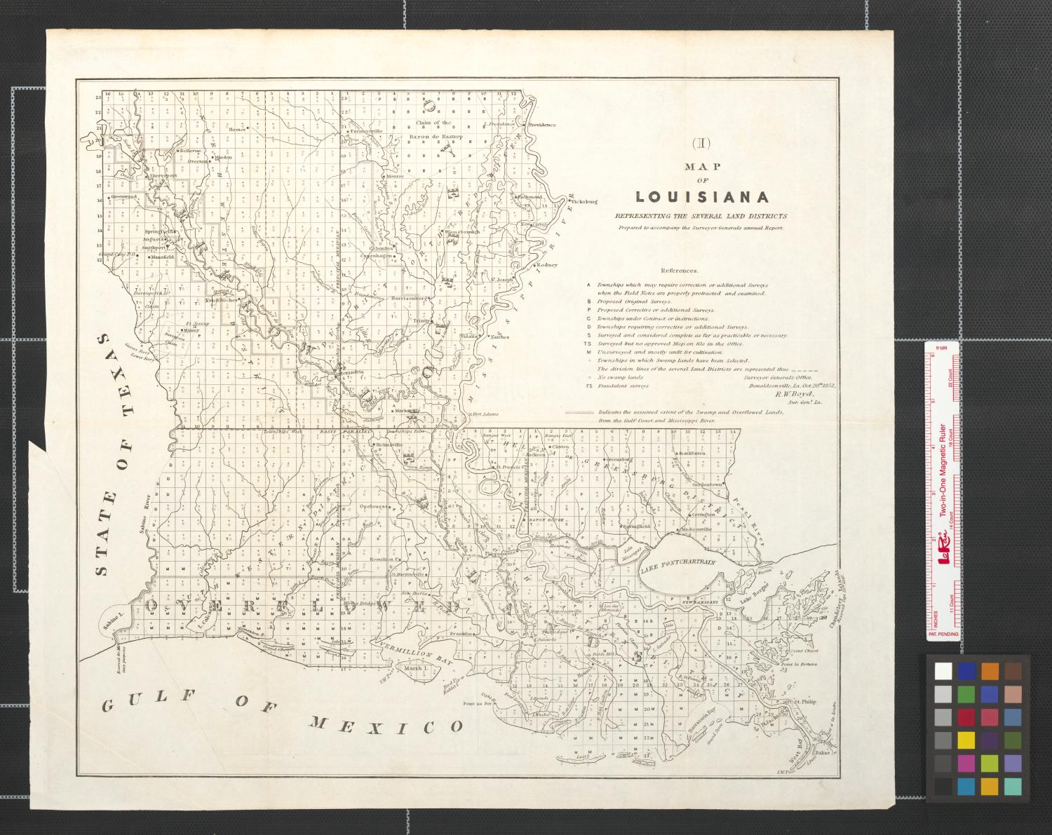 map of louisiana representing the several land districts