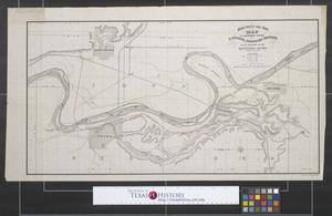 Primary view of object titled 'Union Pacific Rail Road, map to accompany report of S. Seymour, consulting engineer on the crossing of the Missouri River.'.