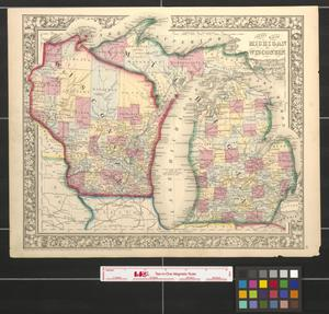 Primary view of object titled 'County map of Michigan and Wisconsin.'.