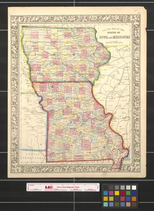 Primary view of object titled 'County map of the states of Iowa and Missouri.'.