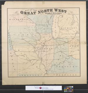 Primary view of object titled 'Map of the great North West showing Peoria, Illinois, the geographical centre.'.