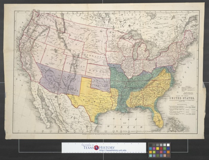 Map Of The United States Showing The Territory In Possession Of The - Us-map-1864