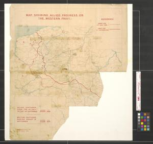 Primary view of object titled 'Map showing allied progress on the Western Front.'.