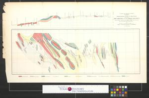 Primary view of object titled 'Geological plan and section from the Rio Grande to the Pimas Villages'.