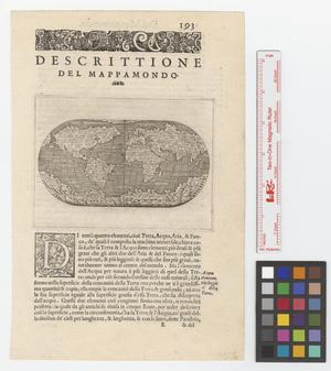 Primary view of object titled 'Descrittione del mappamondo.'.