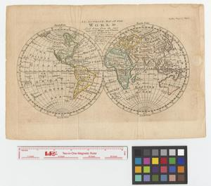 Primary view of object titled 'An accurate map of the world laid down from the most approved maps and charts and regulated by astron'l. observations.'.