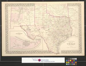 Primary view of object titled 'County map of the state of Texas showing also portions of the adjoining states and territories.'.