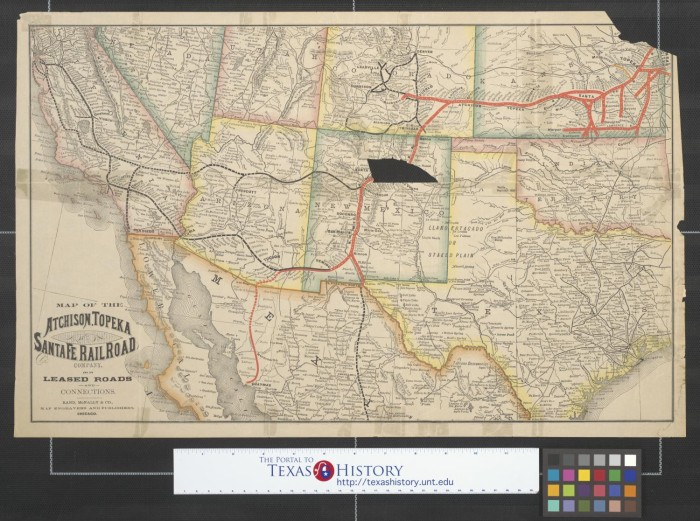 Map Of The Atchison Topeka And Santa Fe Railroad Company And Its - Atchinson topeka and santa ferailroad on the us map