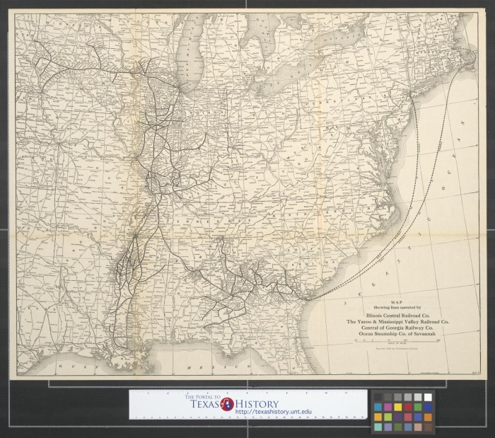 Map showing lines operated by Illinois Central Railroad Co., the