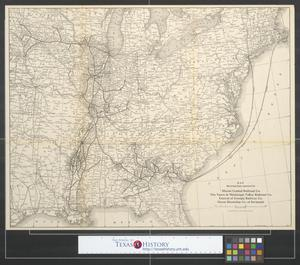 Primary view of object titled 'Map showing lines operated by Illinois Central Railroad Co., the Yazoo & Mississippi Valley Railroad Co., Central of Georgia Railway Co., Ocean Steamship Co. of Savannah'.