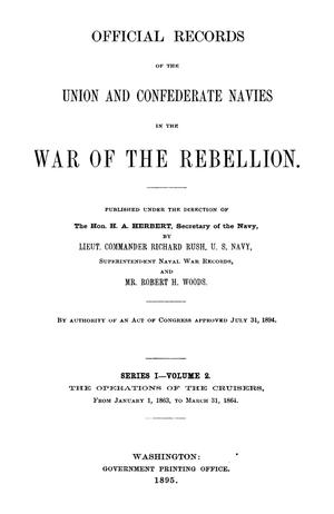 Primary view of object titled 'Official Records of the Union and Confederate Navies in the War of the Rebellion. Series 1, Volume 2.'.