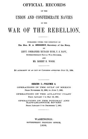 Primary view of object titled 'Official Records of the Union and Confederate Navies in the War of the Rebellion. Series 1, Volume 4.'.