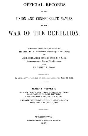Primary view of object titled 'Official Records of the Union and Confederate Navies in the War of the Rebellion. Series 1, Volume 5.'.